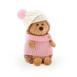 Jucarie ariciul de plus cu caciula alb roz si pulover Fluffy, 15cm, Orange Toys