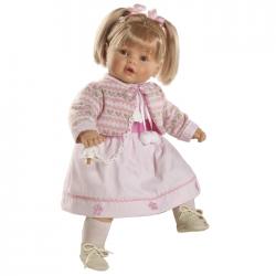 Papusa interactiva Ines in rochita roz si bolero asortat, 62 cm, Berbesa