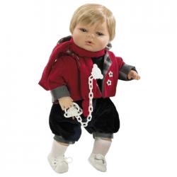 Papusa interactiva Raul cu pulover rosu si bermude, 42 cm, Berbesa
