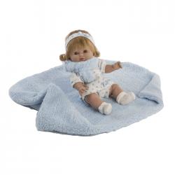 Papusa Baby cu paturica si fular bleu, 34 cm, Berbesa