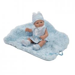 Papusa bebelus cu paturica pufoasa bleu, 27 cm, Berbesa