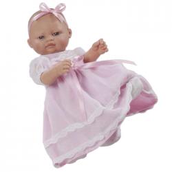 Papusa bebelus cu rochita lunga roz, 27 cm, Berbesa