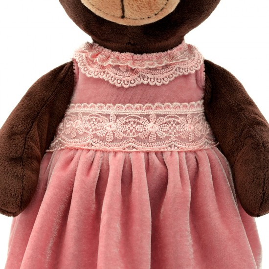 Jucarie urs de plus cu rochita din catifea roz Milk, 25cm, Orange Toys Jucarii Plus