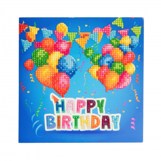 Set creativ tablou cu cristale Happy Birthday18x18cm, Craft Buddy