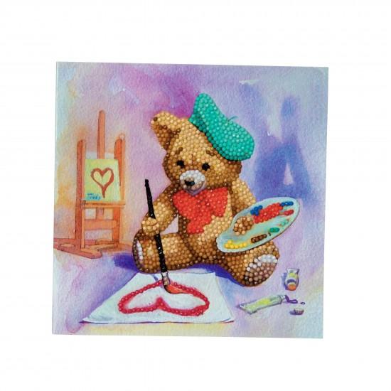 Set creativ tablou cu cristale, Teddy, 18x18cm, Craft Buddy