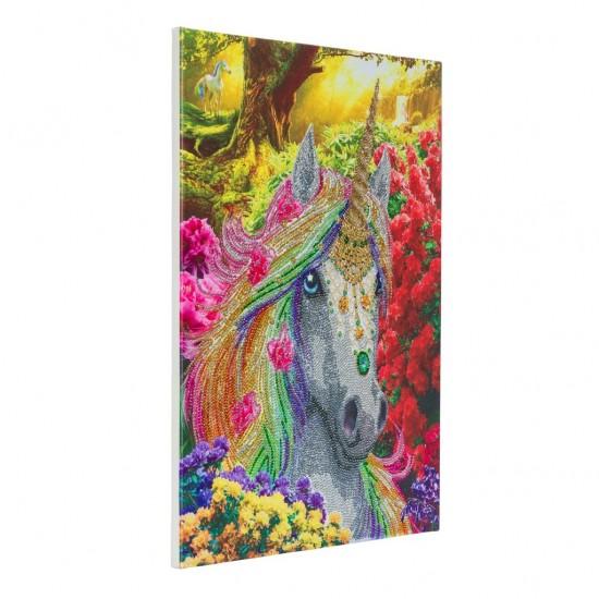 Set creativ tablou cu cristale, Inorog in padure, 40x50cm, Craft Buddy