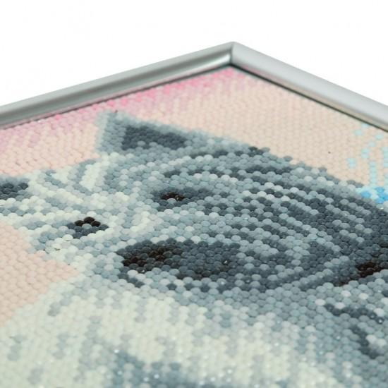 Set creativ Crystal Art in rama foto argintie Westie 21x25cm, Craft Buddy Art & Craft