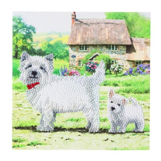Set creativ tablou cu cristale, Catei Westie, 18x18cm, Craft Buddy