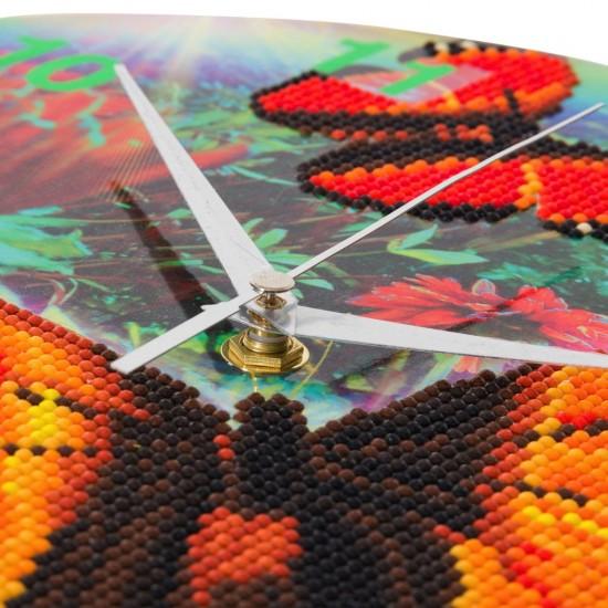 Set creativ ceas cu cristale, Fluture, 30cm, Craft Buddy