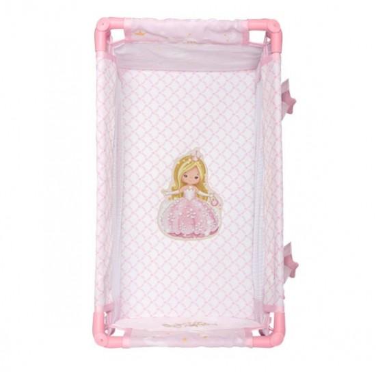Patut pliant de calatorie cu geanta, roz, Maria, 50x29x30, De Cuevas Accesorii Papusi