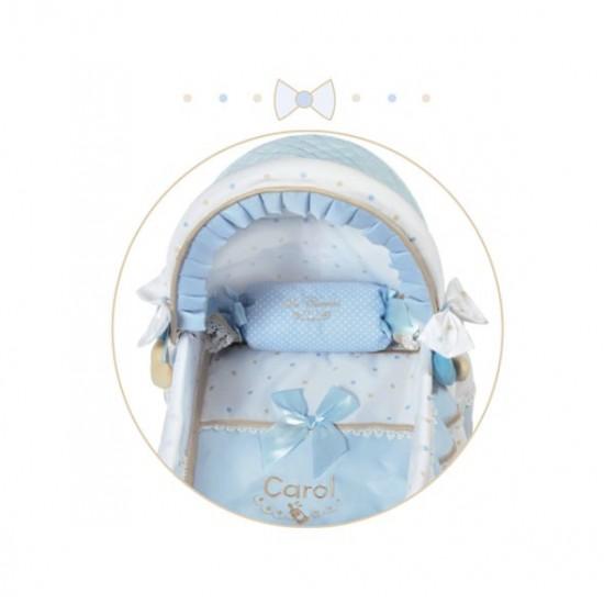 Cosulet pentru papusi cu roti, pernuta si asternuturi, albastru, Carol, 46x27x52, De Cuevas