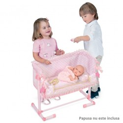 """Patut pentru papusi """"Dormi cu mine"""" reglabil cu pernuta si asternuturi,roz, Maria, 50x34x50, De Cuevas"""