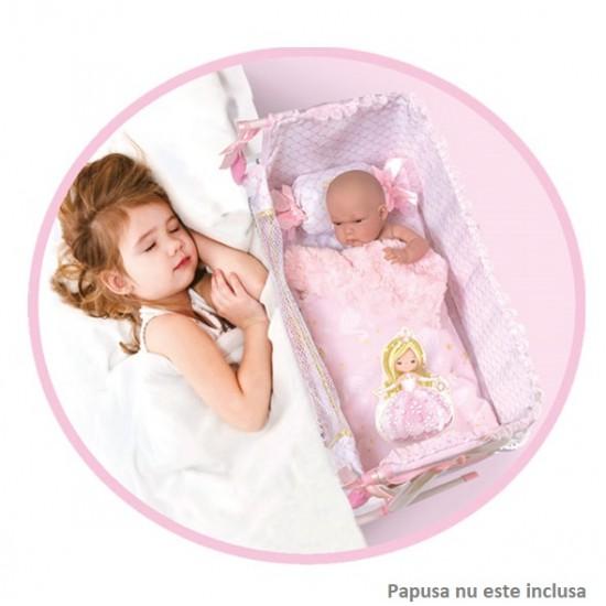 """Patut pentru papusi """"Dormi cu mine"""" reglabil cu pernuta si asternuturi,roz, Maria, 50x34x50, De Cuevas Accesorii Papusi"""