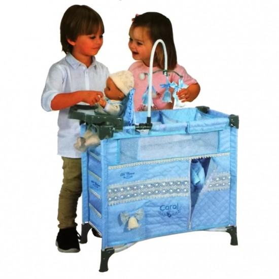 Dulapior pliant cu patut si loc de joaca pentru papusi cu accesorii,albastru, Carol,70x34x50, De Cuevas Accesorii Papusi