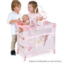 Dulapior pliant cu patut si loc de joaca pentru papusi cu accesorii,roz, Maria, 70x32x60, De Cuevas