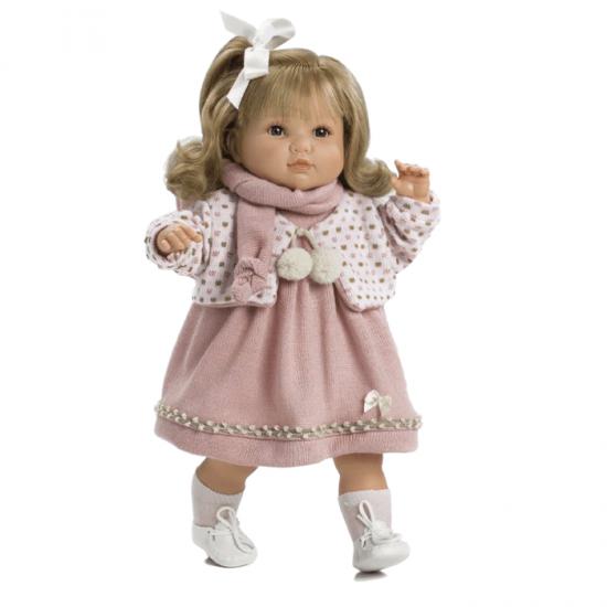 Papusa interactiva Sandra cu rochita tricotata , 42 cm, Berbesa Papusi