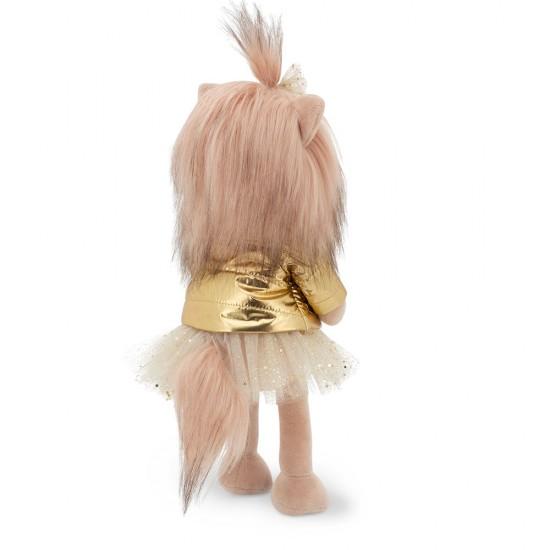 Catelusa Lucky Yoyo cu jacheta aurie, din plus, 25cm, Orange Toys