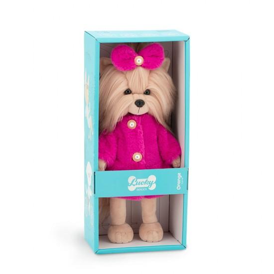 Catelusa Lucky Yoyo cu hainuta roz din blana, din plus, 25cm, Orange Toys