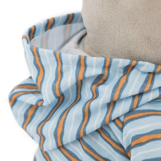 Po. hipopotamul din plus cu hanorac albastru dungat, 20cm, Orange Toys