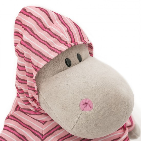 Po. hipopotamul din plus cu hanorac rosu dungat, 20cm, Orange Toys