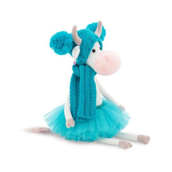 Vacuta din plus Caramello, cu fusta albastra, 25cm, Orange toys