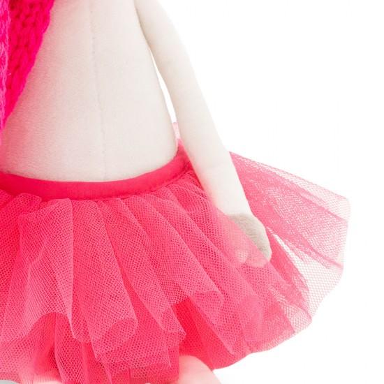 Vacuta din plus Caramello, cu fusta rosie, 25cm, Orange toys