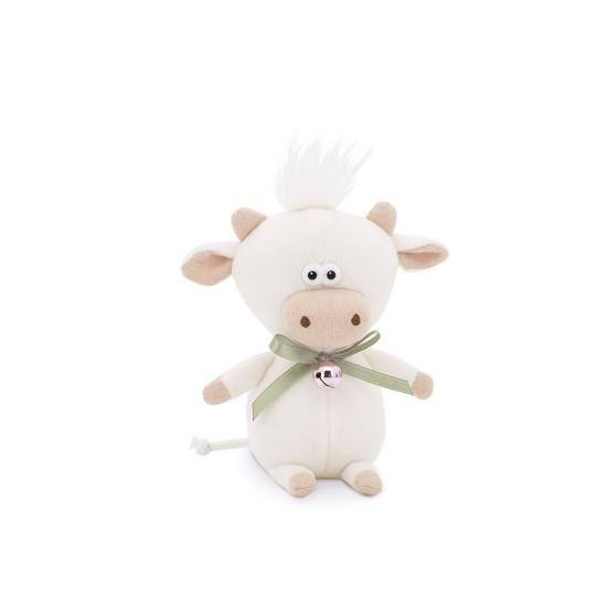 Moo, vitelul alb cu clopotel, din plus, 12cm, Orange Toys