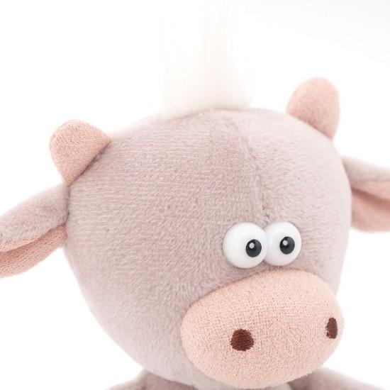 Moo, vitelul gri cu clopotel, din plus, 12cm, Orange Toys