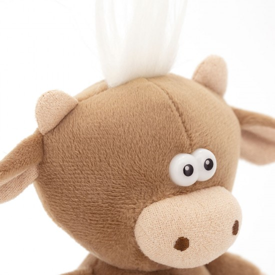 Moo, vitelul maro cu clopotel, din plus, 12cm, Orange Toys