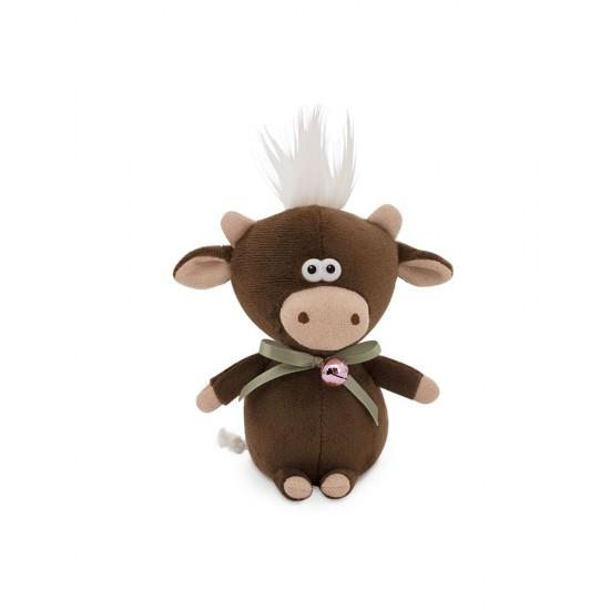 Moo, vitelul negru cu clopotel, din plus, 12cm, Orange Toys