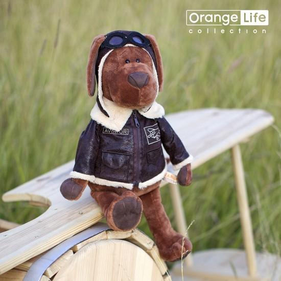 Jucarie catelul aviator de plus Cookie, 30cm, Orange Toys Jucarii Plus