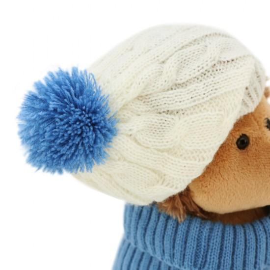 Jucarie ariciul de plus cu caciula alb albastra si pulover Prickle, 15cm, Orange Toys Jucarii Plus