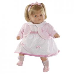 Papusa interactiva Carla in rochita alba si bolero roz , 52 cm, Berbesa