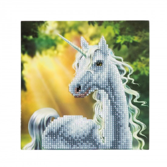 Set creativ tablou cu cristale Sunshine Unicorn, 18x18cm, Craft Buddy