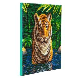 Set creativ tablou cu cristale, Crystal Art Tiger Pool 30x30cm, Craft Buddy
