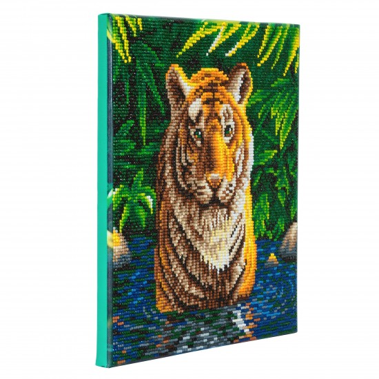 Set creativ tablou cu cristale, Crystal Art Tiger Pool 30x30cm, Craft Buddy Art & Craft