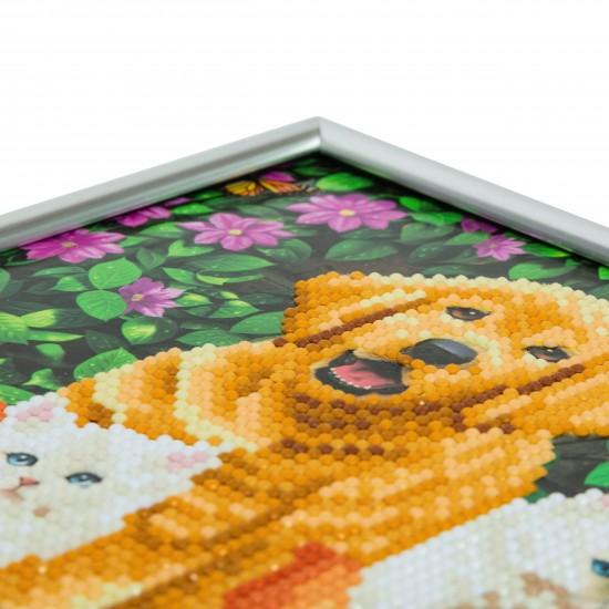 Set creativ Crystal Art in rama foto argintie Cat and Dog: Friends for Life 21x25cm, Craft Buddy Art & Craft