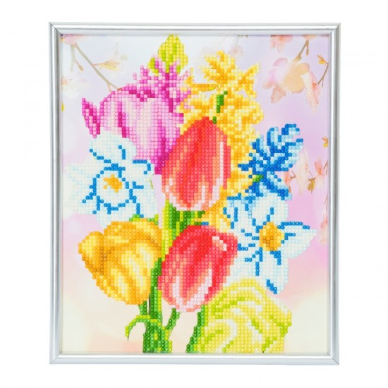 Set creativ Crystal Art in rama foto argintie Beautiful Bouquet 21x25cm, Craft Buddy Art & Craft