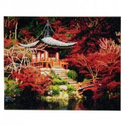 Set creativ tablou cu cristale, Crystal Art Chinese House  30x30cm, Craft Buddy