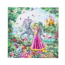 Set creativ tablou cu cristale, Crystal Art The Princess & The Unicorn 30x30cm, Craft Buddy