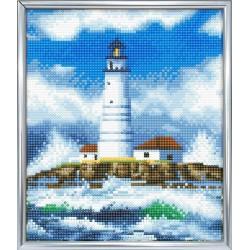 Set creativ Crystal Art in rama foto argintie The Lighthouse 21x25cm, Craft Buddy
