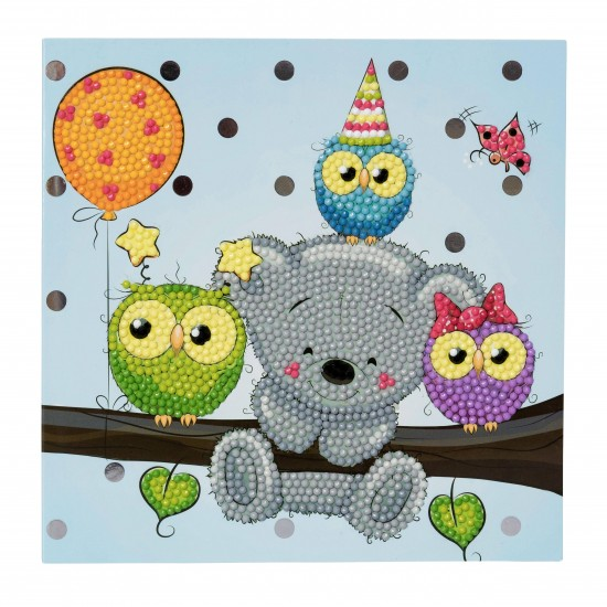 Set creativ tablou cu cristale Birthday Friends 18x18cm, Craft Buddy