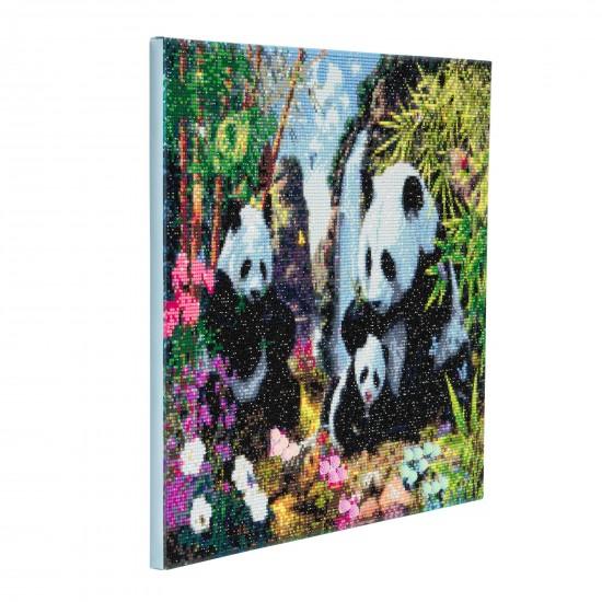 Set creativ tablou cu cristale, Crystal Art Panda Valley 40x50cm, Craft Buddy Art & Craft
