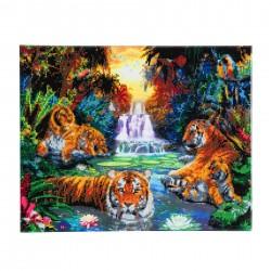 Set creativ tablou cu cristale, Crystal Art Tigers at the Jungle Pool 40x50cm, Craft Buddy