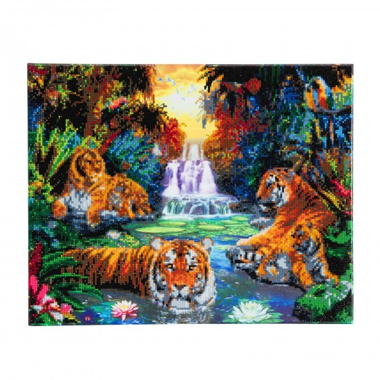 Set creativ tablou cu cristale, Crystal Art Tigers at the Jungle Pool 40x50cm, Craft Buddy Art & Craft