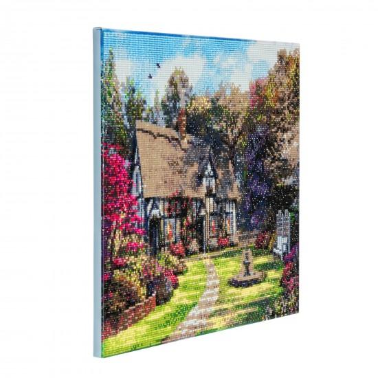 Set creativ tablou cu cristale, Crystal Art Country Cottage 40x50cm, Craft Buddy Art & Craft