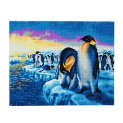 Set creativ tablou cu cristale, Crystal Art Penguins of the Arctic 40x50cm, Craft Buddy