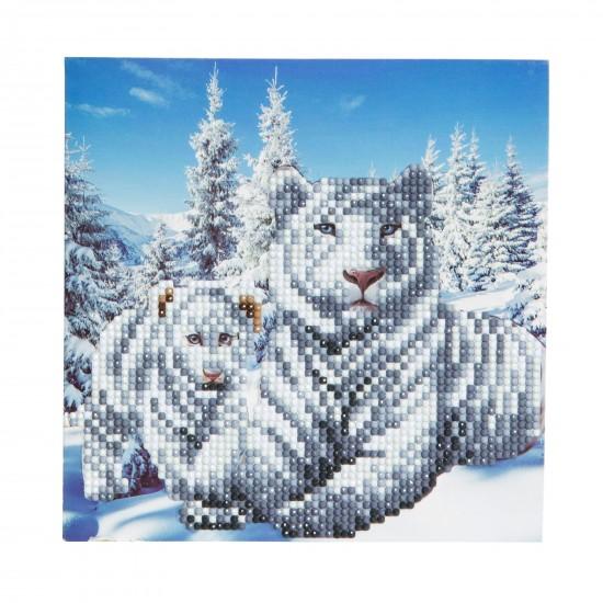 Set creativ tablou cu cristale Snowy White Tigers 18x18cm, Craft Buddy Art & Craft