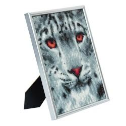 Set creativ Crystal Art in rama foto argintie Snow Leopard 21x25cm, Craft Buddy