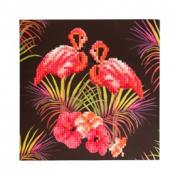 Set creativ tablou cu cristale Pink Flamingoes 18x18cm, Craft Buddy